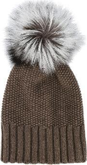 Inverni , Fox Fur Pom Pom Beanie Women Fox Furcashmere One Size, Women's, Brown