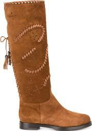 Le Silla , Lace Up Knee High Boots Women Leathersuederubber 40