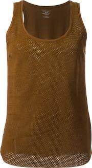 Majestic Filatures , Leather Front Tank Top Women Cottonleather 3, Women's, Brown