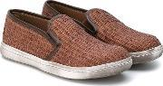 Pepe , Woven Slip On Trainers Kids Leatherstrawrubber 33, Boy's, Brown
