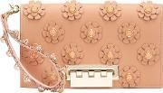 Zac Zac Posen , Large Flower Embellished Clutch Women Calf Leather One Size, Women's, Brown