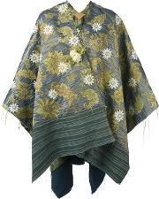 Ermanno Gallamini , Floral Reversible Poncho Women Cottonpolyesterviscose One Size, Women's