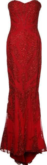 Mikael D , . Strapless Embroidered Gown