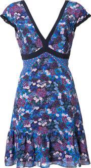 Saloni , Floral Print V Neck Dress