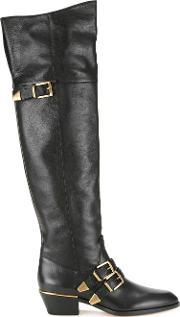 Chloe , Over The Knee Boots Women Calf Leather 39, Women's, Black