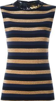 Sonia Rykiel , Sequined Collar Striped Top