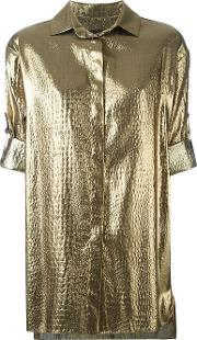 Alexandre Vauthier , Metallic Grey Short Sleeved Shirt Women Silkpolyester 36