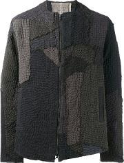 By Walid , Textured Bomber Jacket Men Cottonlinenflax L, Grey