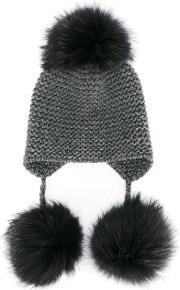 Inverni , Fox Fur Triple Pom Pom Beanie Hat Women Fox Furcashmere One Size, Women's, Grey