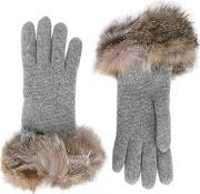 Inverni , Fox Fur Trimmed Gloves Women Fox Furcashmerewool One Size, Women's, Grey