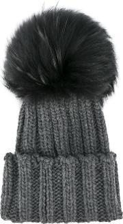 Inverni , Raccoon Fur Single Pom Pom Beanie Hat Women Cashmereracoon Fur One Size, Women's, Grey