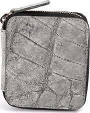 Isaac Sellam Experience , Mini Zipped Wallet Women Crocodile Leather One Size, Women's, Grey