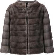 J Mendel , J. Mendel Reversible Zipped Jacket Women Mink Furnylon 8, Women's, Grey