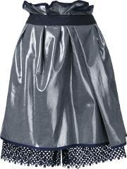 Kolor , Metallic Grey Gathered Skirt Women Polyesterwool 2