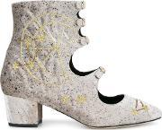 Liudmila , Little Nell Embroidered Boots Women Leathervelvet 38, Women's, Grey
