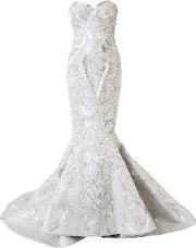 Mikael D , . Strapless Beaded Fishtail Gown