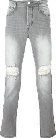 Stampd , Ripped Slim Fit Jeans Men Cottonspandexelastane 30, Grey