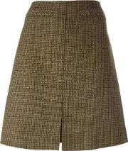 Courreges , Houndstooth Patterned A Line Skirt Women Cuprowool 34, Women's, Green