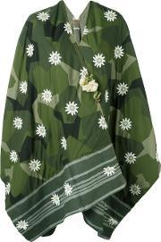 Ermanno Gallamini , Floral Geometric Print Poncho Women Nylonviscosewoolother Fibers One Size, Women's, Green