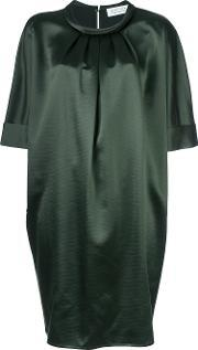 Gianluca Capannolo , Pleated Neck Shift Dress Women Silkvirgin Wool 40, Women's, Green