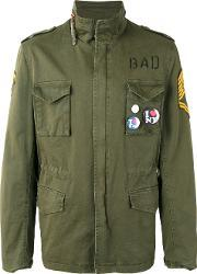 History Repeats , Embroidered Field Jacket Men Cottonspandexelastane 52, Green