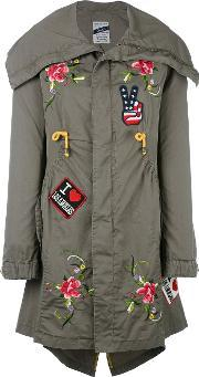 History Repeats , Floral Embroidery Parka Women Cotton 42