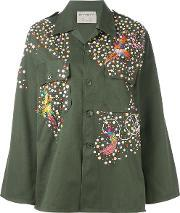 Night Market , Embellished Army Jacket Women Cottonpolyestermetal Other Glass One Size, Women's, Green