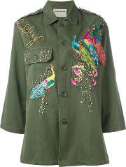 Night Market , Peacock Embroidered Army Jacket Women Cottonpolyestermetal Other Glass One Size, Women's, Green