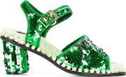 Suecomma Bonnie , Sequined Buckled Sandals Women Acrylicpolycarboniterubber 40, Women's, Green