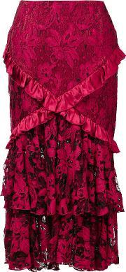 Romance Was Born , 'crimson Magnolia' Skirt Women Silkcottonnylon 12