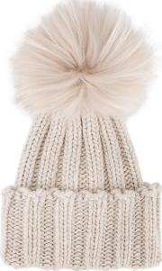 Inverni , Raccoon Fur Single Pom Pom Beanie Women Cashmereracoon Fur One Size, Women's, Nudeneutrals