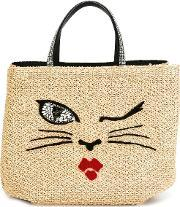 Ermanno Scervino , Woven Cat Motif Tote Women Cottonviscoseglass One Size, Women's, Nudeneutrals