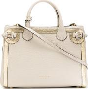 Burberry , House Check Shoulder Bag Women Cottoncalf Leathermetal One Size, Women's, Nudeneutrals