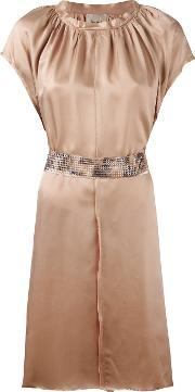 Nude , Pleated Trim Belted Dress