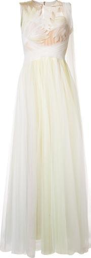 Marchesa , Feather Embellished Gown Women Silkpolyester 8, Women's, White