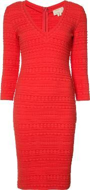Nicole Miller , Textured V Neck Dress Women Cottonnylonspandexelastane S, Women's, Red