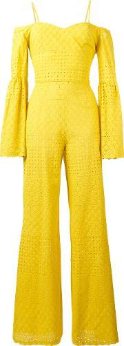 Daizy Shely , Perforated Detail Jumpsuit Women Cotton 40, Women's, Yelloworange