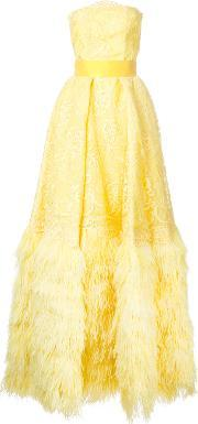 Isabel Sanchis , Embroidered Bustier With Matching Ballskirt Women Polyesteracetate 38, Women's, Yelloworange