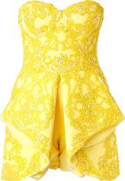 Mikael D , . Strapless Embellished Playsuit