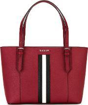 Bally , Striped Trim Tote Women Calf Leather One Size