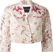 Christian Pellizzari , Floral Print Cropped Jacket Women Cottonpolyesteracetate 38, Women's, Red