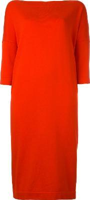 Daniela Gregis , Cropped Sleeves Dress Women Cotton One Size, Women's, Red