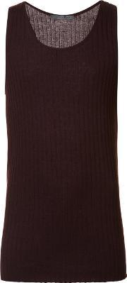 Denis Colomb , Ribbed Tank Top Men Silkcashmere M, Red