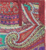 Etro , Printed Scarf Men Silkcottonwool One Size, Red