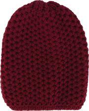 Inverni , Chunky Knit Beanie Women Cashmere One Size, Women's, Red