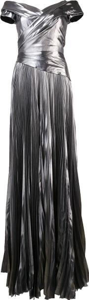 J Mendel , J. Mendel Matte Metallic Grey Pleated Dress Women Silk 2