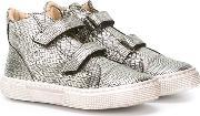 Pepe , Metallic Grey Hi Top Sneakers Kids Goat Skinleatherrubber 35