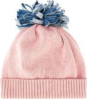 Federica Moretti , 'denim Pom Pom' Beanie Women Cotton One Size