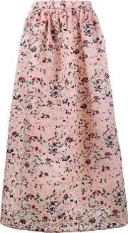 Huishan Zhang , Floral Embroidered Soft Pleated Skirt Women Silkpolyester 10, Women's, Pinkpurple