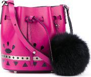 Les Petits Joueurs , Mini 'daliah' Crossbody Bag Women Fox Furlamb Skinbos Taurus One Size, Women's, Pinkpurple